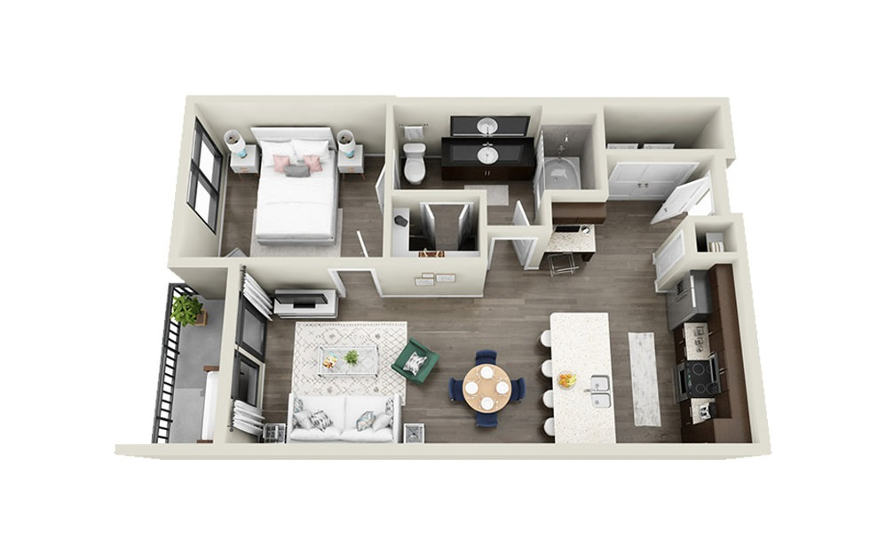 Concord - 1 bedroom floorplan layout with 1 bath and 654 square feet.