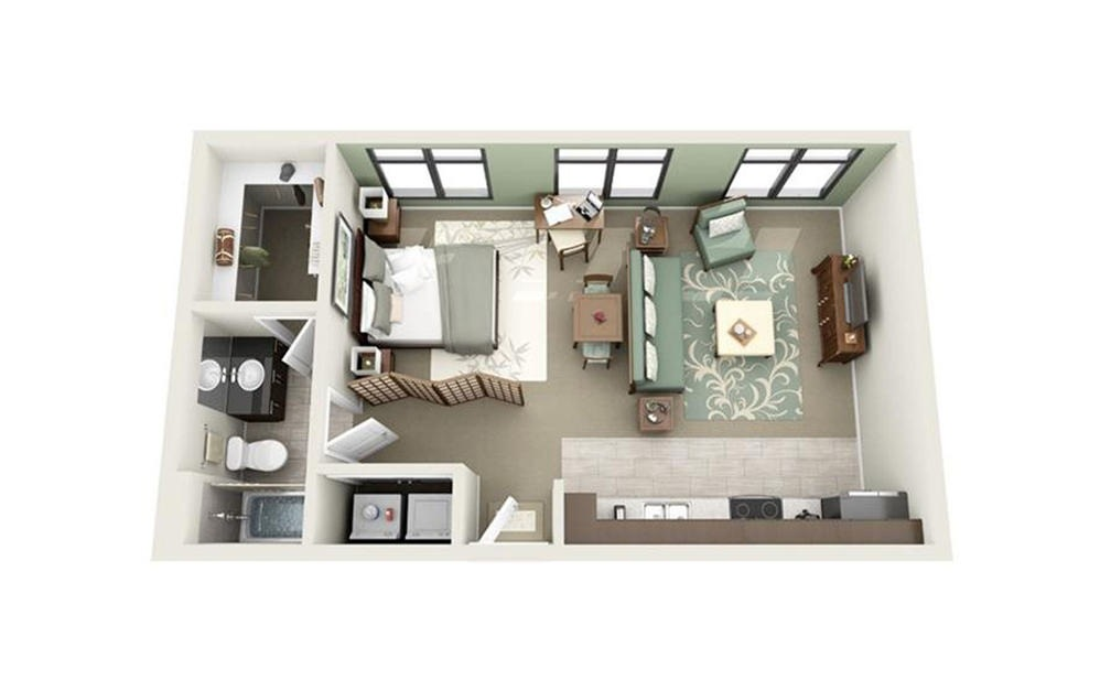 Battery - Studio floorplan layout with 1 bath and 594 square feet.