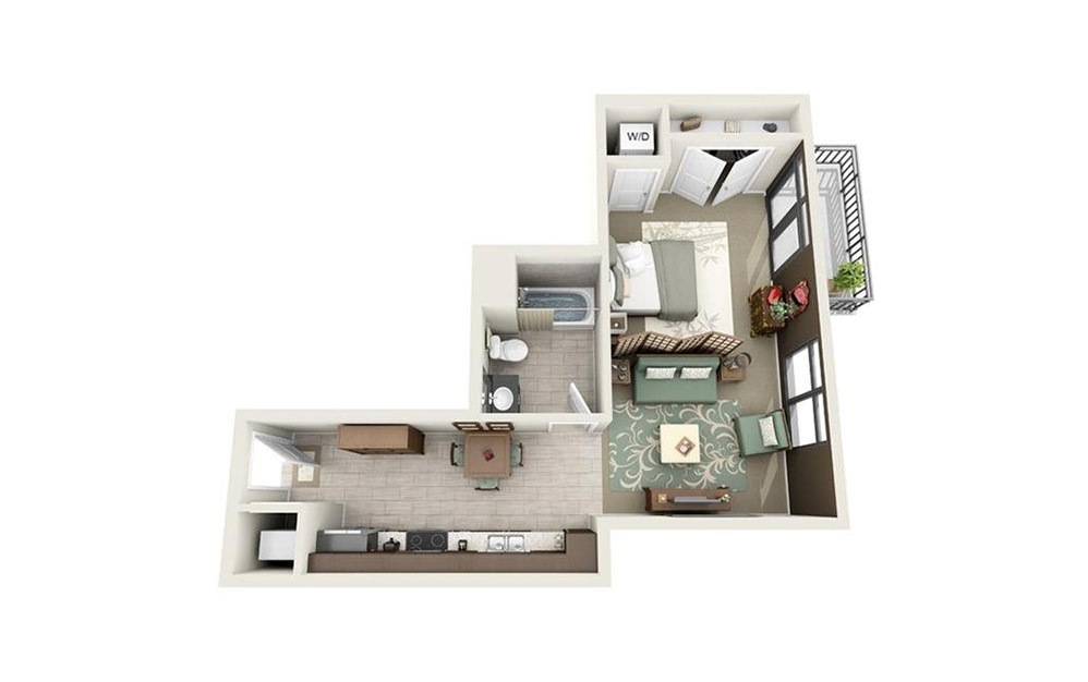 Beaufain - Studio floorplan layout with 1 bath and 529 square feet.