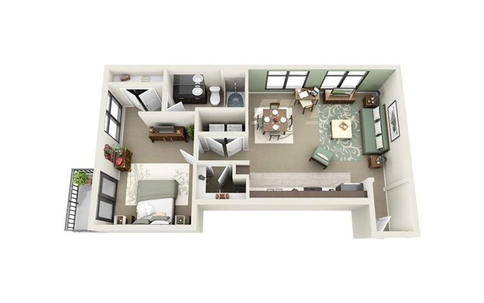 Broad - Studio floorplan layout with 1 bath and 758 square feet.
