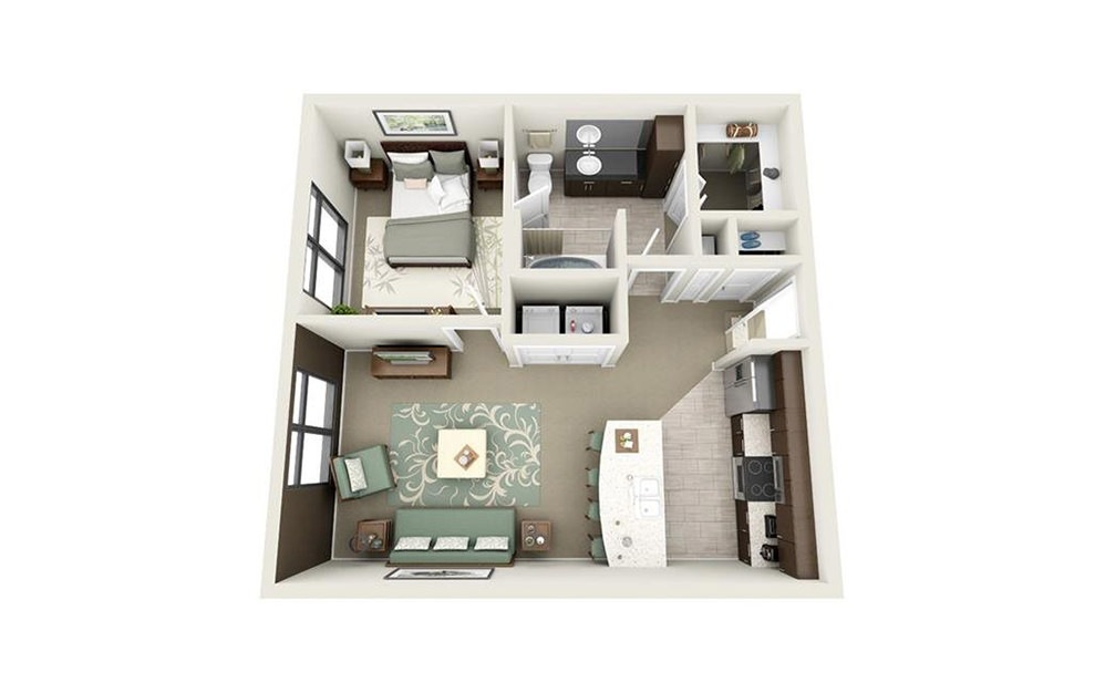 Calhoun - 1 bedroom floorplan layout with 1 bath and 641 square feet.