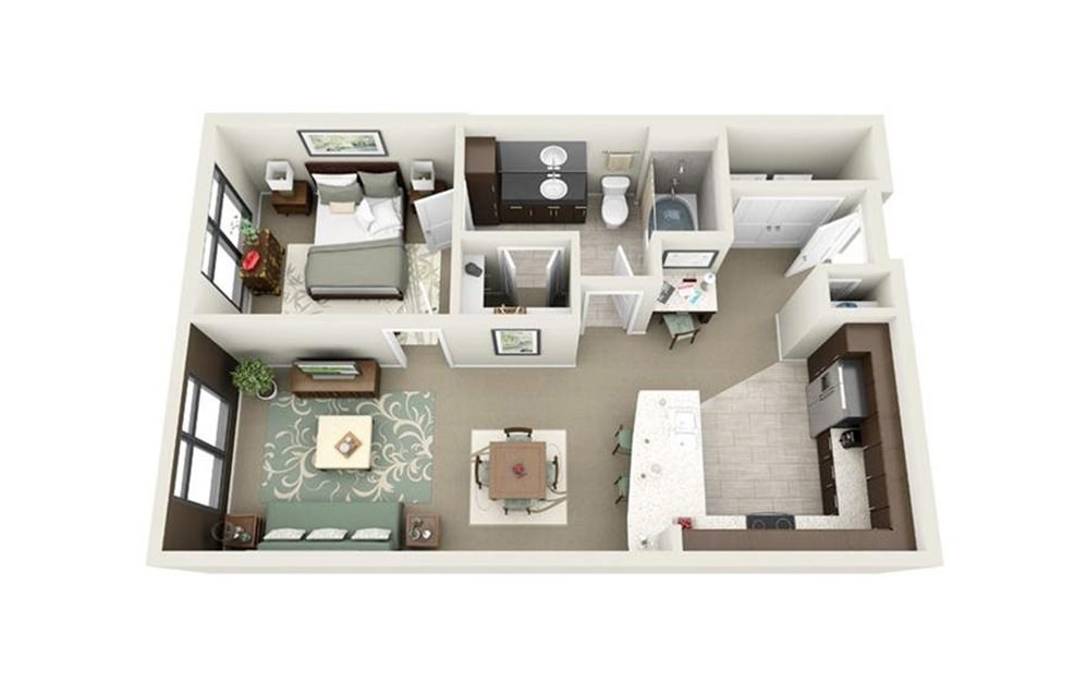 Cumberland - 1 bedroom floorplan layout with 1 bath and 690 square feet.
