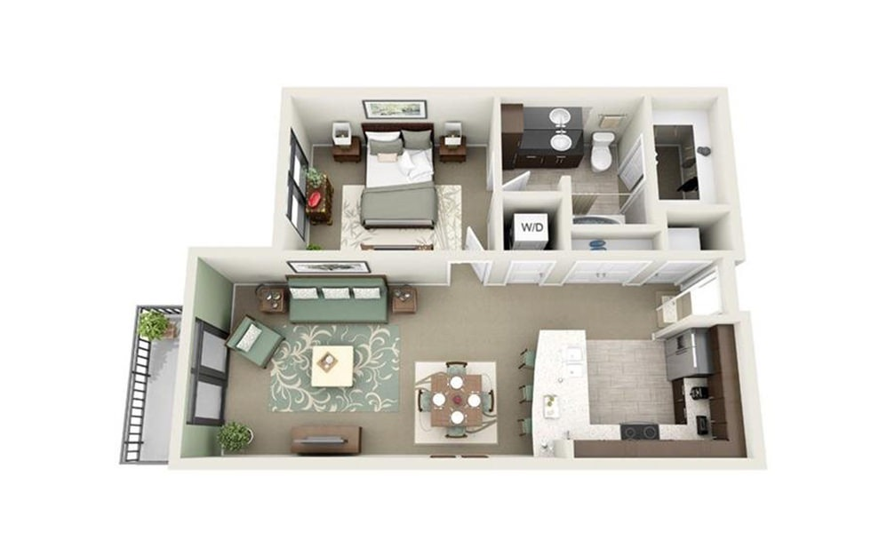 Gadsden - 1 bedroom floorplan layout with 1 bath and 705 square feet.