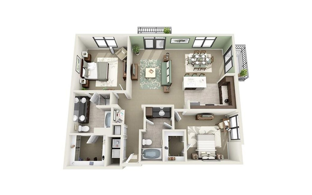 Market - 2 bedroom floorplan layout with 2 baths and 1312 square feet.