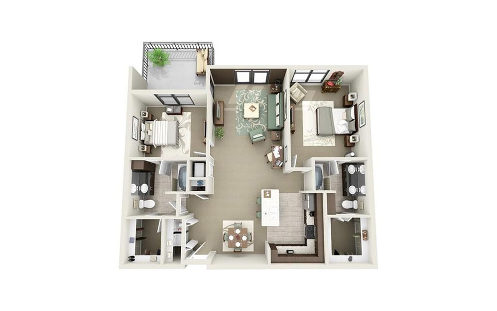 Meeting - 2 bedroom floorplan layout with 2 baths and 1261 to 1277 square feet.