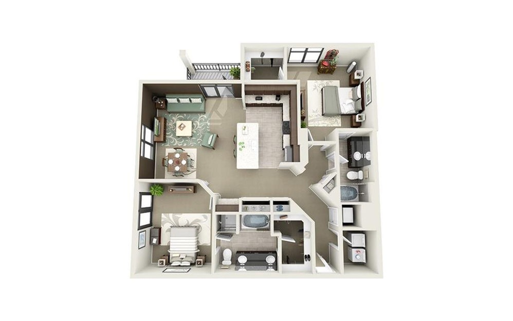 Sumter - 2 bedroom floorplan layout with 2 baths and 1328 to 1472 square feet.