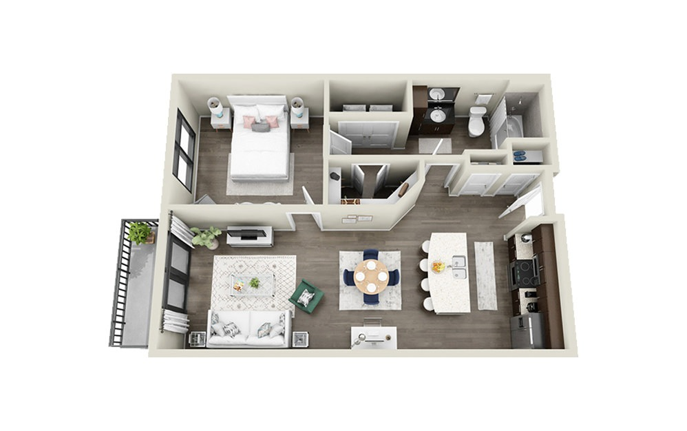 Gibbes - 1 bedroom floorplan layout with 1 bath and 733 to 755 square feet.