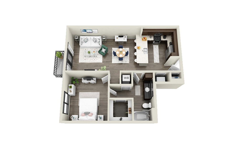 Gillon - 1 bedroom floorplan layout with 1 bath and 831 square feet.