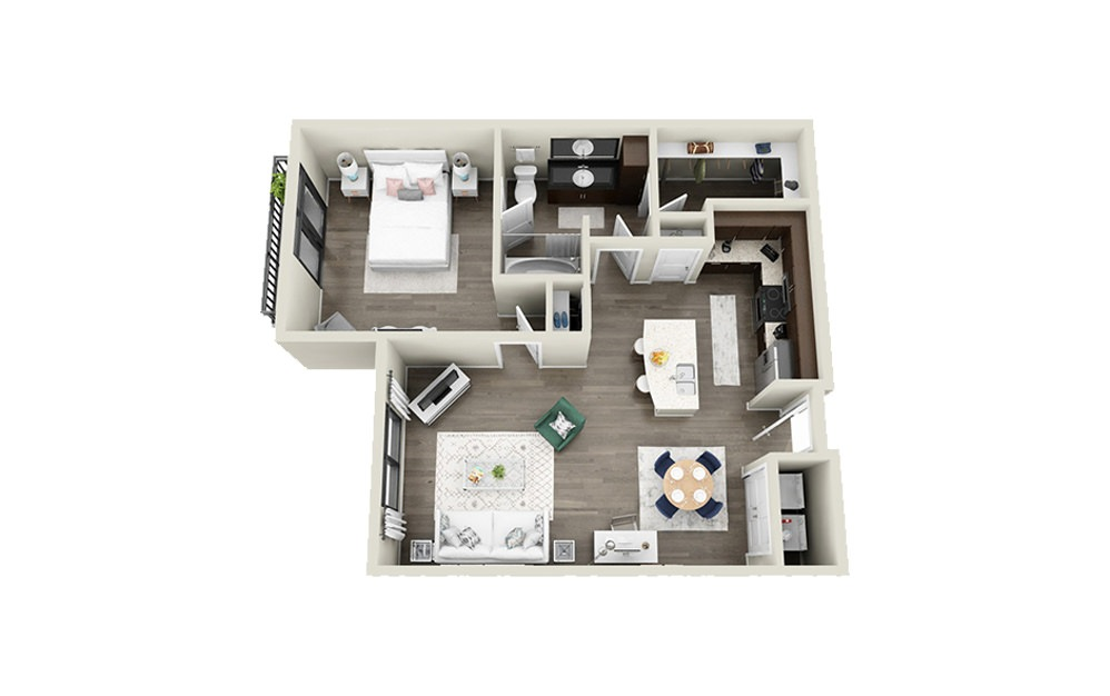 King - 1 bedroom floorplan layout with 1 bath and 783 square feet.