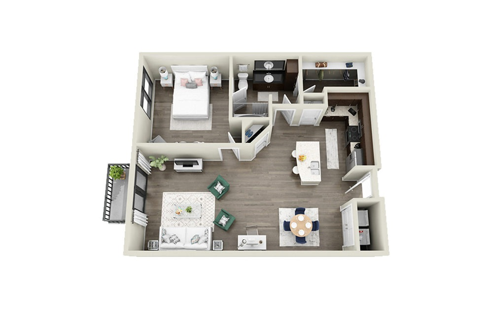 Legare - 1 bedroom floorplan layout with 1 bath and 861 to 869 square feet.