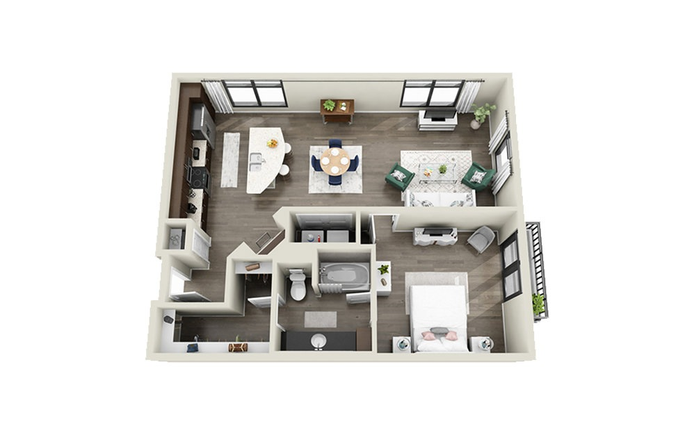 Marion - 1 bedroom floorplan layout with 1 bath and 888 square feet.