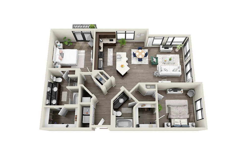 Society - 2 bedroom floorplan layout with 2 baths and 1321 square feet.