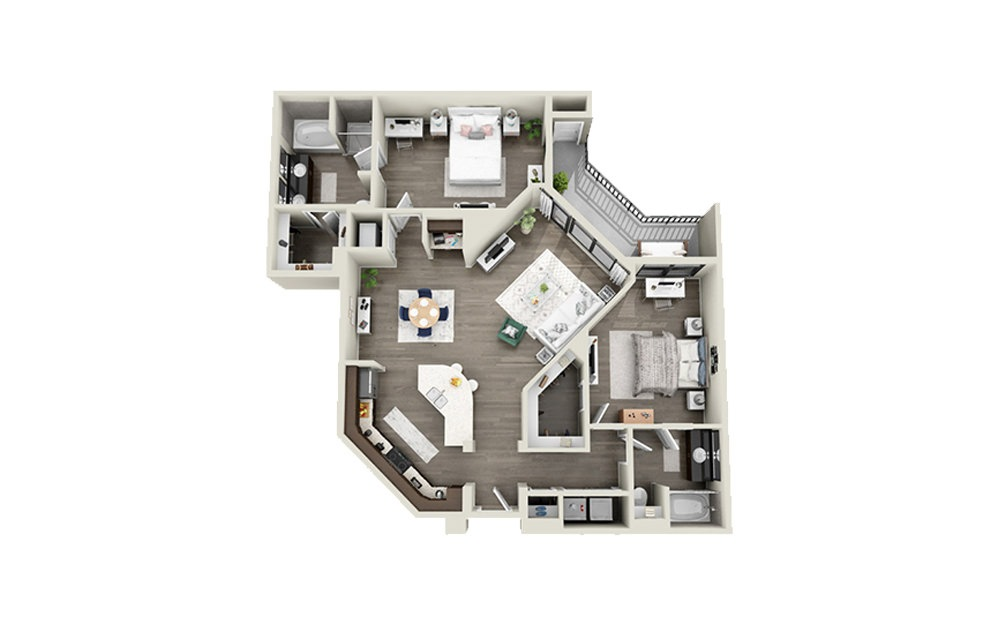 Tradd - 2 bedroom floorplan layout with 2 baths and 1294 to 1356 square feet.