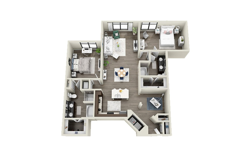 Wentworth - 2 bedroom floorplan layout with 2 baths and 1410 to 1411 square feet.