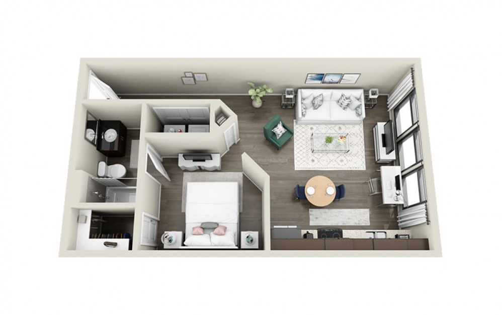 Anson - Studio floorplan layout with 1 bath and 576 to 613 square feet.